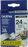 Brother TZE251 Labelprinter-tape - Wit