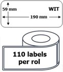 10x Dymo 99019 compatible 110 labels  / 59 mm x 190 mm / wit / papier