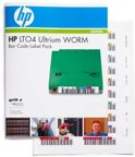HP LTO4 Ultrium WORM BarCode Label Pack- A pack of 110 uniquely sequenced Ultrium bar code labels (100 data + 10 cleaning) for use in StorageWorks libraries
