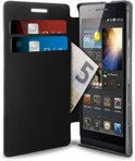 PURO Huawei Ascend P6 Eco Leather Flip Case - Zwart with Cardslots