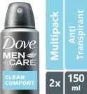 Dove Men+Care Clean Comfort - 150 ml - Deodorant Spray - 2 stuks - Voordeelverpakking