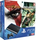 Sony PlayStation 3 Console 12GB Super Slim + 1 Wireless Dualshock 3 Controller + God Of War III - Essentials Edition + Uncharted: Drake's Fortune - Essentials Edition - Zwart PS3 Bundel