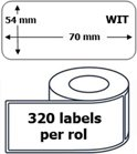 100x Dymo 99015 compatible 320 labels  / 54 mm x 70 mm / wit / papier