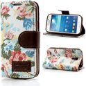 JavuCase - Samsung Galaxy S4 Mini - Wallet Case Hoesje Roses Wit
