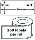 10x Dymo 99012 compatible 260 labels  / 36 mm x 89 mm / wit / papier