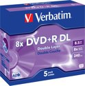 Verbatim 43541 DVD+R Double Layer Matt Silver - 5 Stuks / Jewelcase