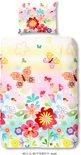 Kinderdekbedovertrek met vlinders en bloemen - 4811-A (140x200/220 cm + 1 kussensloop)
