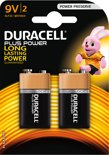 Duracell Plus Power 9V Alkaline Batterijen 2x Pak