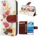 JavuCase - Samsung Galaxy S4 Mini - Wallet Case Hoesje Leaves