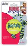 Kong Hondenspeelgoed Air Squeaker Ball Met Touw - Geel/Blauw - M