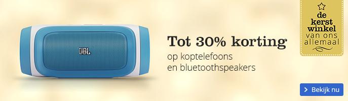 Tot 30% korting op koptelefoons en bluetoothspeakers
