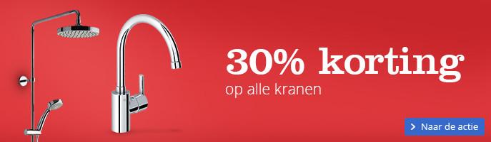 30% korting op alle kranen