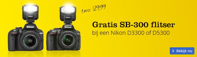 gratis flitser bij Nikon d3300 en D5300 camera