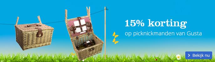 15% korting op picknickmanden van Gusta