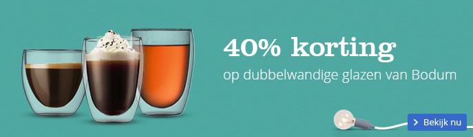 40% korting | op dubbelwandige glazen van Bodum