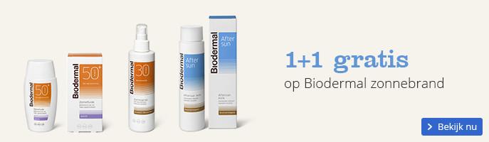 1+1 gratis op Biodermal zonnebrand