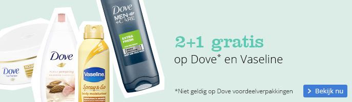 2+1 gratis   op Dove en Vaseline