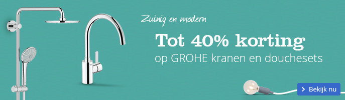 Tot 40% korting op GROHE kranen en douchesets. Zuinig en modern.