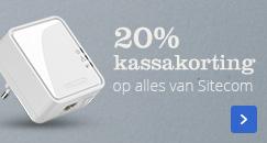 20% kassakorting op alles van Sitecom