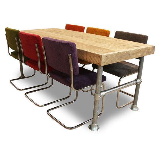 ... Set tafel en stoelen Set Steigerhouten Tafel Met 6 Retro Rib Stoelen