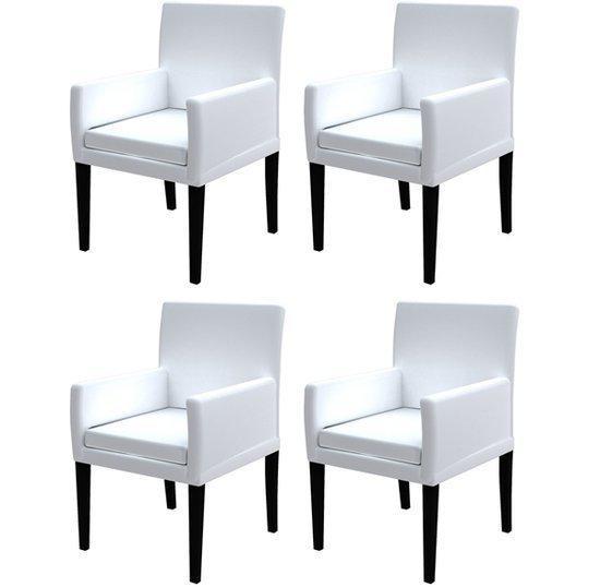 Vidaxl stoel eetkamerstoel gebroken wit met for Stoel houten poten