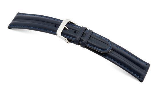 Rios1931 Horlogeband -  California Sport Donkerblauw - Leer - 16 mm