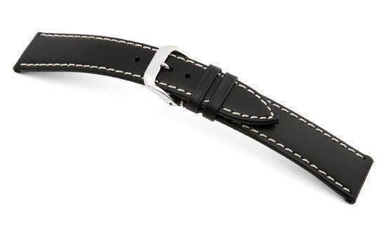 Rios1931 Horlogeband -  Pensa Zwart - Leer - 19 mm