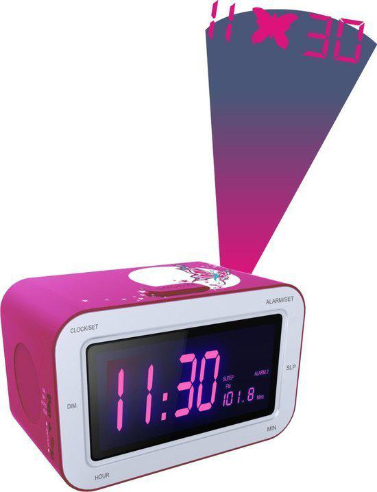 bigben wekkerradio met projectie roze bigben interactive. Black Bedroom Furniture Sets. Home Design Ideas