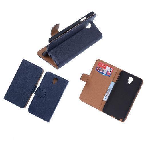 BestCases Navy Blue Echt Leer Booktype Samsung Galaxy Note 3 Neo in Vieux-Waleffe