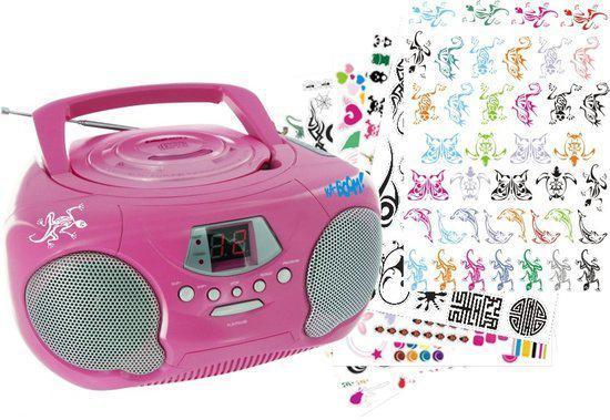 Big Ben Draagbare CD Speler + Stickers - Roze