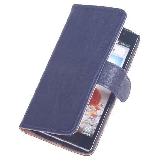 BestCases Nevy Blue Luxe Echt Lederen Booktype Hoesje LG L90 in Himert / Hemert