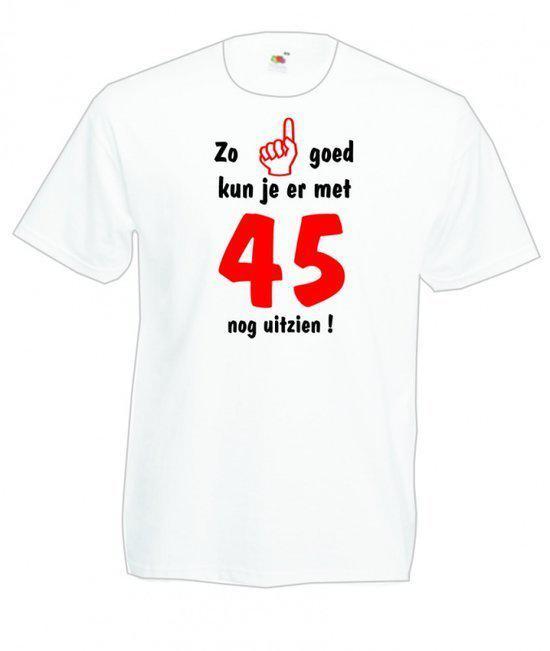 Mijncadeautje heren leeftijd T-shirt wit maat L Zo goed kun je er met 45 nog uitzien
