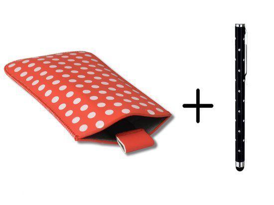 Polka Dot Hoesje voor Acer Liquid E3 met gratis Polka Dot Stylus, Rood, merk i12Cover in Het Oudeland