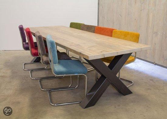 bol com   Van Abbev u00e9 Set tafel en stoelen Industri u00eble Balken Eettafel Van Sloophout Met Metalen K