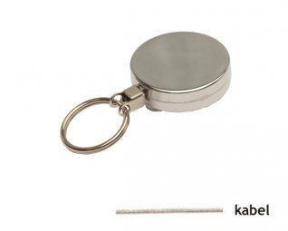 Zilveren metalen yoyo met kabel en sleutelring / Skipashouder type EG43