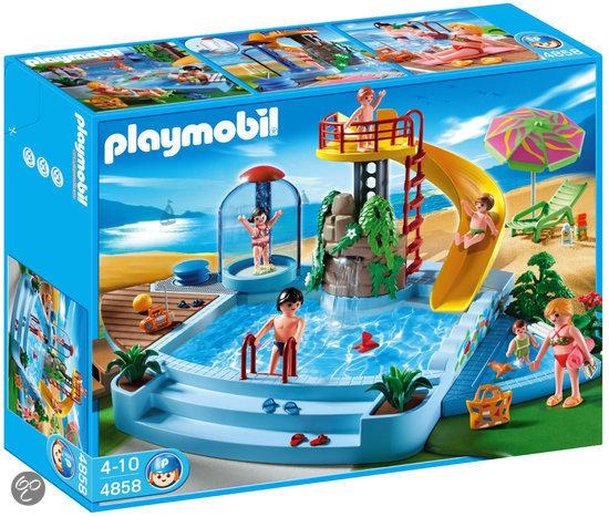 Playmobil openluchtzwembad met glijbaan 4858 for Prix piscine complete