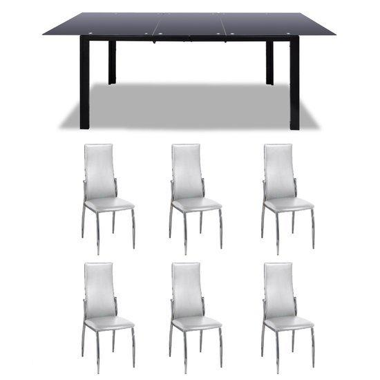Vidaxl set tafel en stoelen zwarte glazen uitschuifbare tafel 6 eetkamerstoelen - Glazen tafel gesmeed ijzer en stoelen ...
