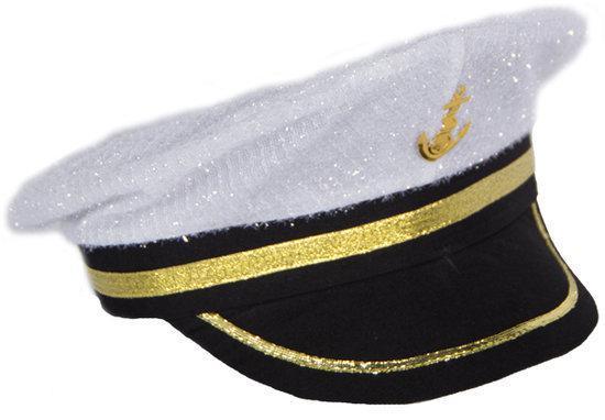 Witte Glitter Marine Kapiteinspet Man