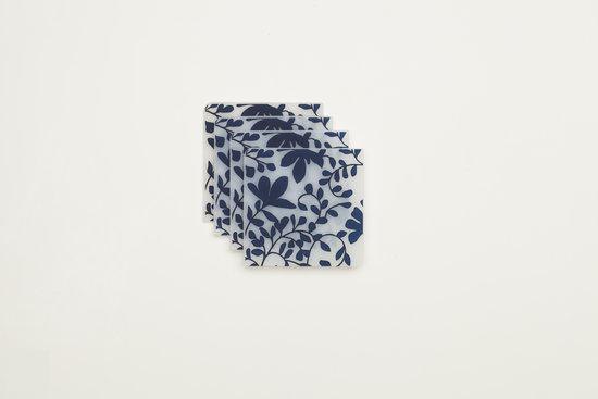 Modern Twist Notz Onderzetter Jardin2 - Indigo - Set van 4 stuks