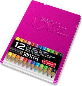 Bruynzeel mXz Blik 12 Triple Soft Feel Kleurpotloden - Fuchsia