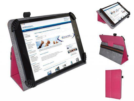 Fold up hoesje voor Denver Tac 70031, hot pink , merk i12Cover in Ede