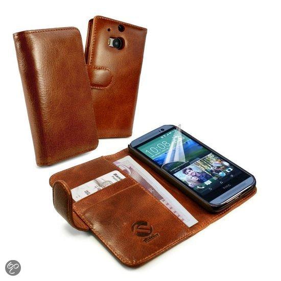 ... lederen portemonnee en telefoonhoes HTC One M8, bruin : Elektronica