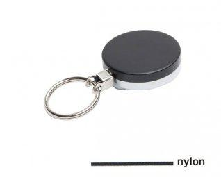 Zwarte metalen yoyo met nylon koord en sleutelring / Skipashouder type EG43