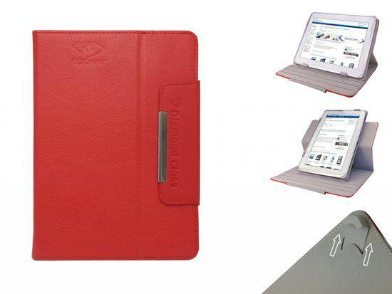 Intenso Tab 814 Diamond Class Hoes, 360° Draaibare Cover, Quality Case, Kleur Rood , merk i12Cover in Kootwijkerbroek