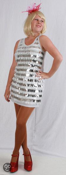 03b7457b53d bol.com   Galajurk Pailletten Charleston jurk metallic wit - zilver ...