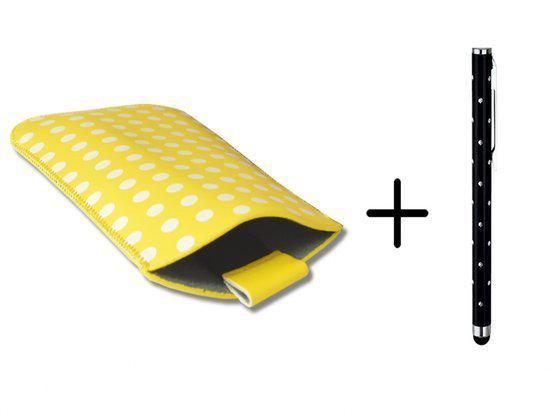 Polka Dot Hoesje voor Yarvik Smp40 202 Ingenia Exilis met gratis Polka Dot Stylus, geel , merk i12Cover in Kaatsheuvel