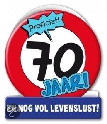 Wenskaart - 70 jaar verkeersbord (blanco binnenkant incl enveloppe)