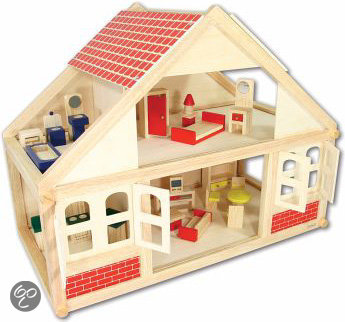 Playwood poppenhuis hout inclusief 25 delige for Poppenhuis hout