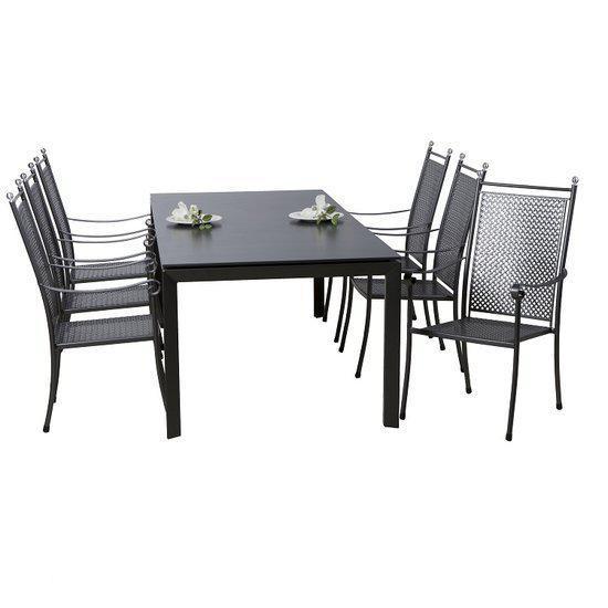 excelcior tuinset 7 delig iron grey mesh. Black Bedroom Furniture Sets. Home Design Ideas