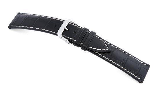 Rios1931 Horlogeband -  New Orleans Zwart - Leer - 19 mm